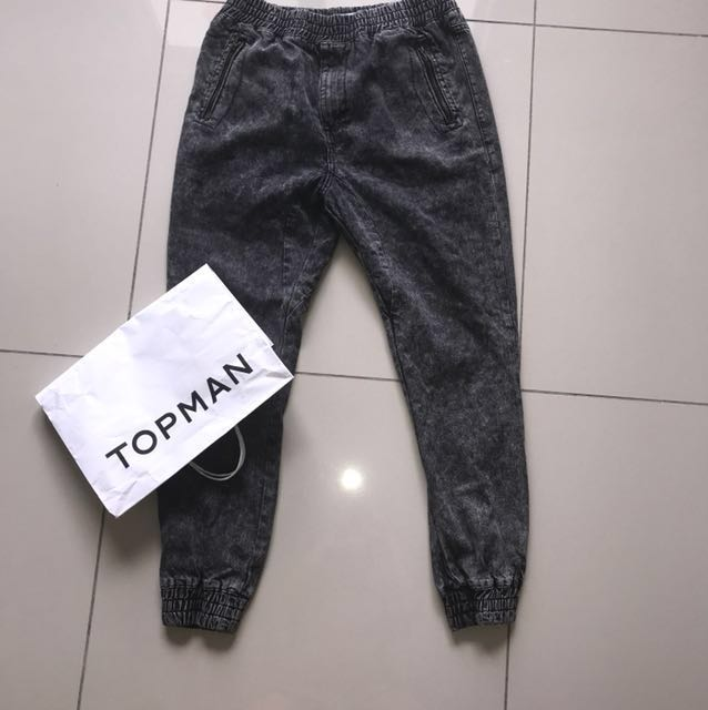 TOPMAN dark grey black elastic waist denim jeans long pants