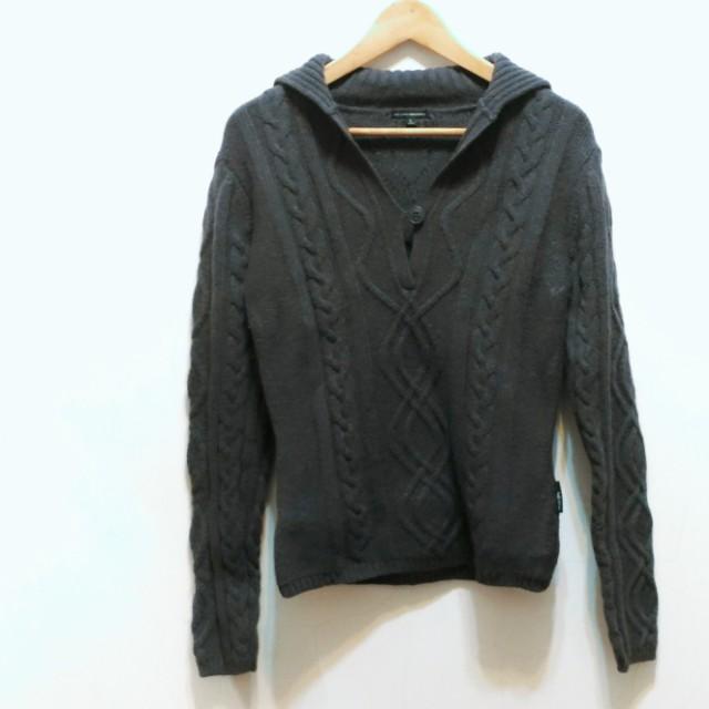 厚織V長袖毛衣 灰色