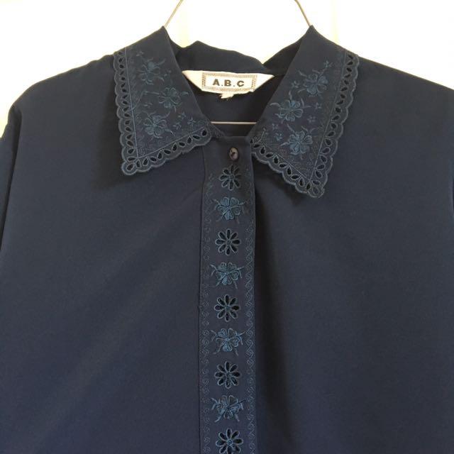VINTAGE navy button down shirt