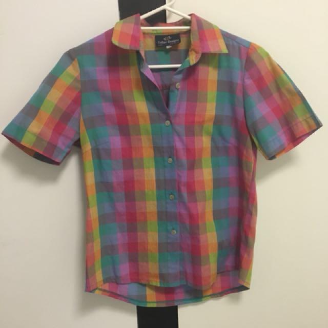 Vintage rainbow check short sleeve shirt