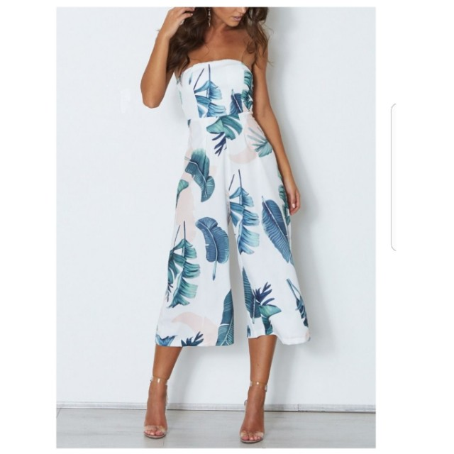WHITE FOX Haven Jumpsuit - Palm Print