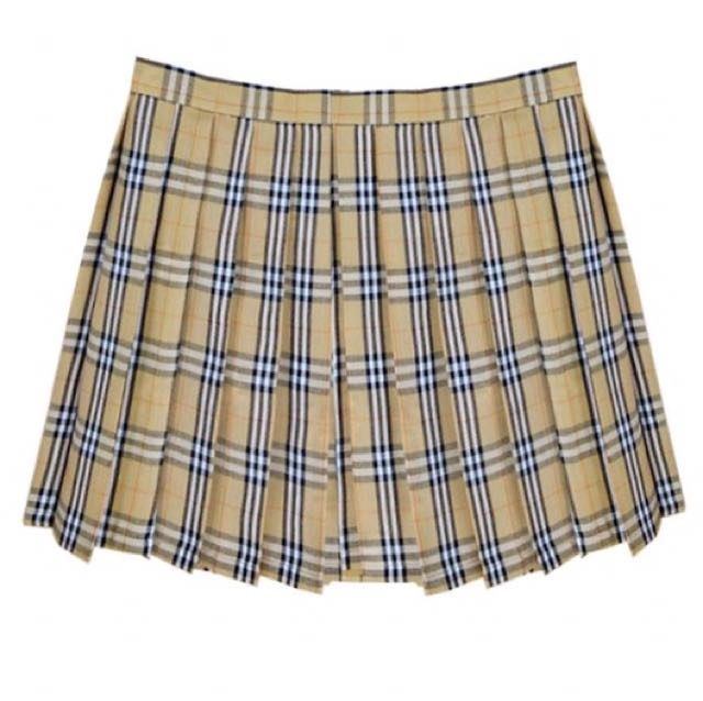 xs Pale Yellow Grid Tennis Skirt
