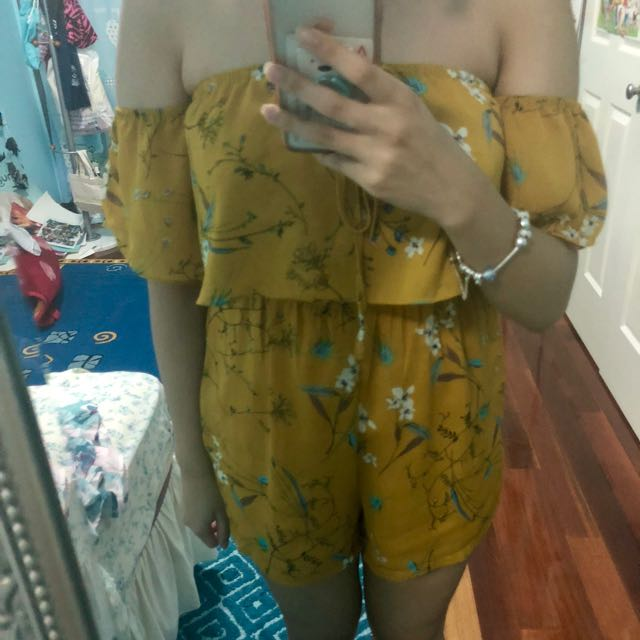 Yellow floral play suit
