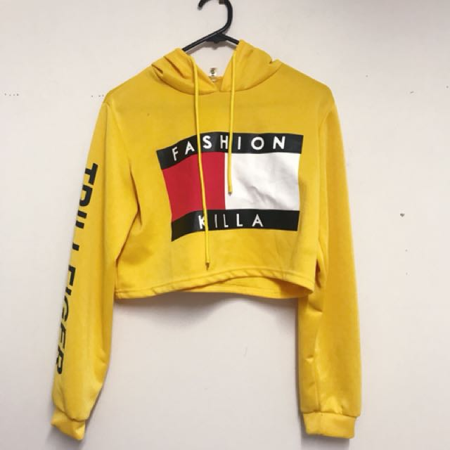 """Yellow """"Trillfiger"""" cropped hoodie"""