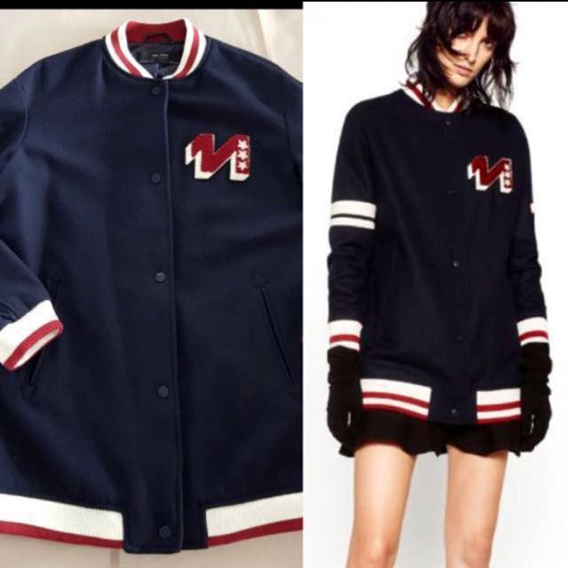 💯Zara Outerwear Navy Blue with Patch