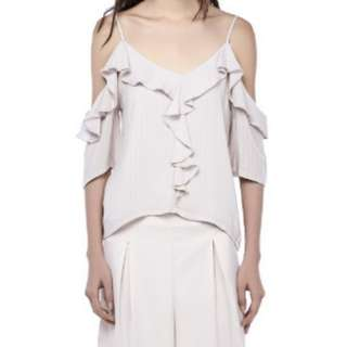 THE EDITOR'S MARKET Tayva Ruffle-trim Blouse in Dust Pink