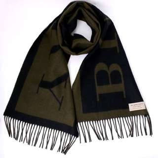 推廣價‼️💓BURBERRY圍巾 💓墨綠色羊絨印字SCARF