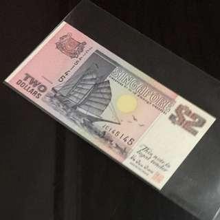 😊 一世❤️ Ship Series $2 Note with Repeater Serial Number JC 145145(一世❤️一世❤️) In Brand New Mint Uncirculated Condition