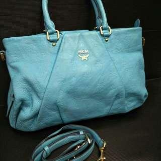 Tas MCM tote leather bag blue ocean