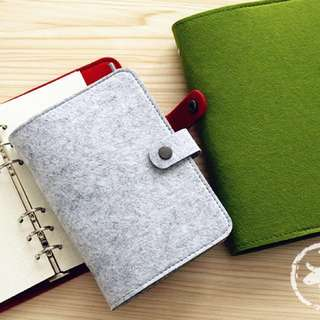 A5 Wool Felt 6-Ring Planner/Binder Green (Cover only)