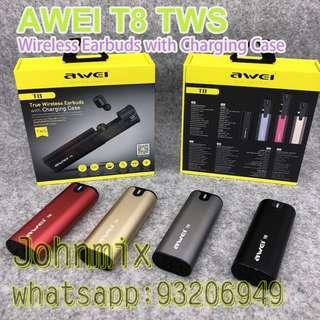AWEI T8 TWS 真正無線雙耳 藍牙耳機4.2藍牙 分離式 連充電盒