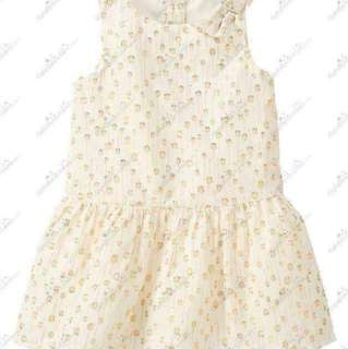#CNY88 Gymboree Holiday Shine Girl 3T Cream Gold Shimmer Dot Dress