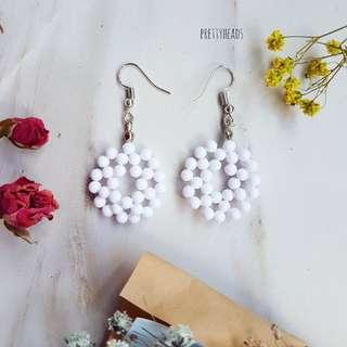 White beaded bubblegum earrings