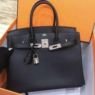 Hermes birkin black phw mirror bag
