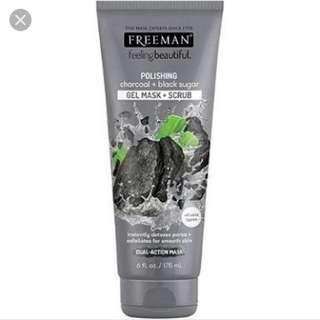 Freeman charcoal and black sugar gel mask + scrub