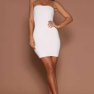 MESHKI mia thin strap body con dress in white
