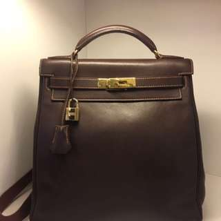 正品 90%新 Hermes Kelly Ado Backpack 朱古力色金扣背包
