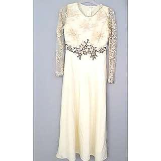Off white & gold long dress