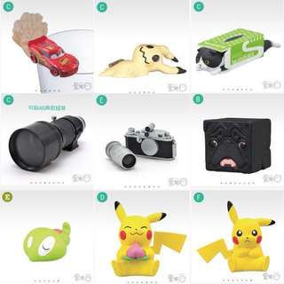 皮卡丘 謎擬Q Canon相機 迪士尼閃電麥坤 四角巴哥 面紙盒貓 扭蛋