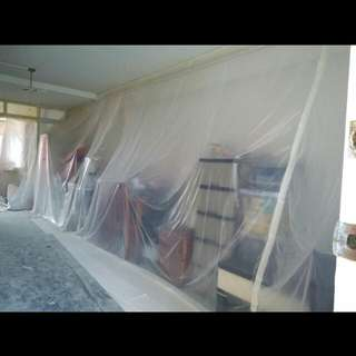 Dust Protection pre Reno : Wrap home items w plastic sheet
