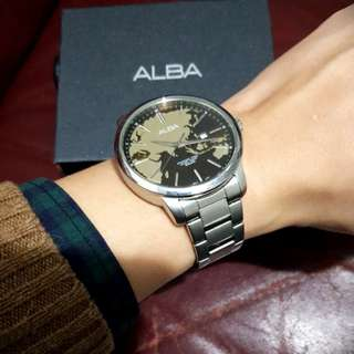 ALBA經典款-地球儀不鏽鋼腕錶,功能良好只是沒電!