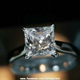 情人節精選🎁實物拍攝,超閃 925純銀6層包金公主方戒指,可訂造任何指圈size