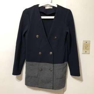 正韓貨 韓國藍灰拼色V領雙排扣雙口袋挺版外套
