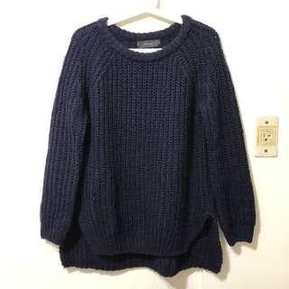 正韓貨 韓國金銀絲星空前短後長深藍色針織衫