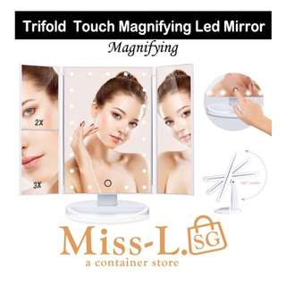 🐾 TRIFOLD TOUCH MAGNIFYING LED MIRROR