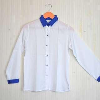 Kemeja Putih Biru Shirt White Blue
