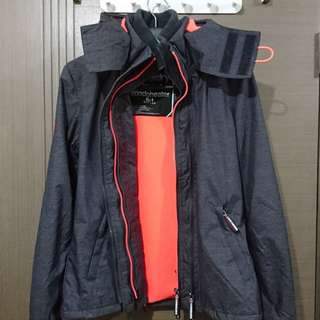 Superdry Windcheater -M size grey/shock coral
