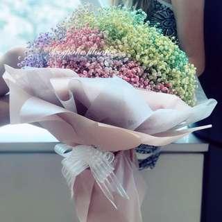Colour my World - Fresh Flowers , Rainbow Baby's Breath