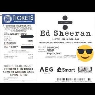 Ed Sheeran Live in Manila GOLD Tickets