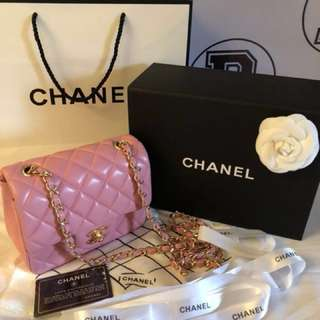 RUSH Authentic chanel mini square pink lambskin classic flapbag with GHW