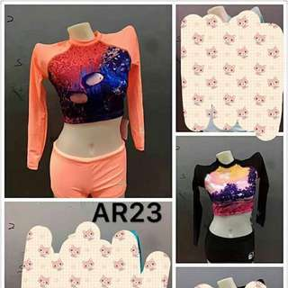 RASHGUARD CROP TOP SET ( small to xl size)