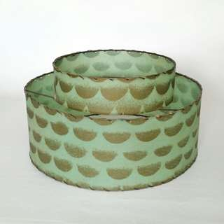 Vintage Green and Gold Fiberglass Lamp Shade