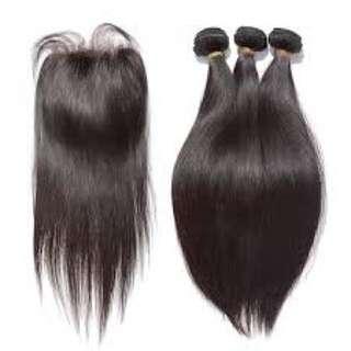 "READY STOCK 3bundles+1clousure 18"" Peruvian hair"