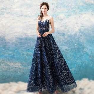 🚚 2018天使嫁衣婚紗晚宴服新款 水晶星鑽璀璨閃爍藍色晚宴年會演出主持人禮服