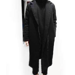 【50% FIFTY PERCENT】韓式長版簡約立領大衣 落肩款