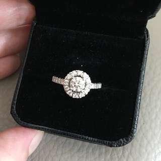 GIA 0.5 center stone diamond 18K gold plated halo ring