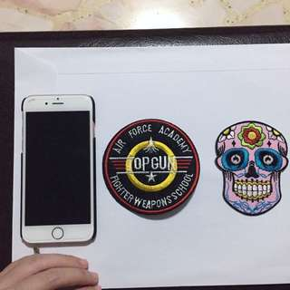 Iron on patches (Top Gun & Sugar Skull)