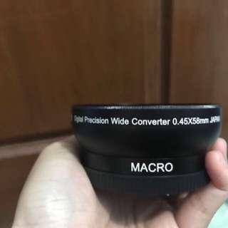Lensa kamera SLR macro wide convertor 0.45 x 58mm japan