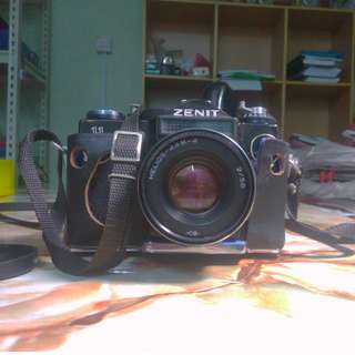 Vintage Zenit 11 35mm film SLR camera with Helios 44M-4 58mm f2 manual m42 lens Russian Carl Zeiss Biotar