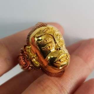 Thai amulets Ring Seehuhata 4ears 5 eyes God Aj Subin. Lucky pendant