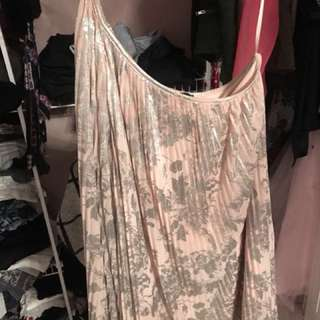 One Shoulder Rose and Silver Dress
