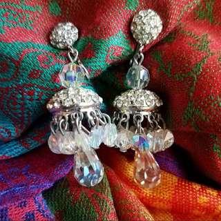 現貨美國二手Vintage 水晶掛飾夾式耳環