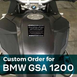 Islamic Stickers - Du'a for Boarding Vehicle (Doa Naik Kenderaan) + Rumi + English Translation for BMW GSA 1200 Big Bike. PLS SWIPE IMAGE for more info.