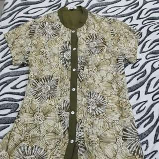 Long Moss Green Floral Polo/Blouse