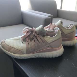 Pink and White Adidas Tubular Radial