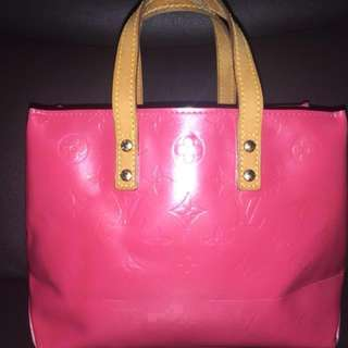 Authentic LV Mono. Vernis Leather READE PM Tote Bag Hot Pink